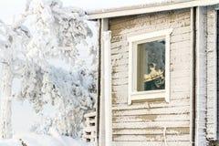 Fenster mit den Reflexionsbaumasten umfasst mit Schnee, Winterlandschaft stockbild