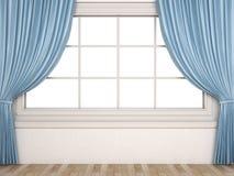 Fenster mit einem weißen Hintergrund und Vorhängen Lizenzfreies Stockfoto