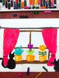 Fenster mit Fenstervorhängen, schönen Blumen und Katzen Stockfotos