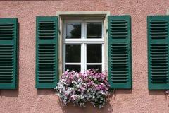Fenster mit grünem Blendenverschluß Stockfotografie