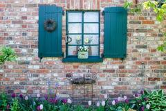 Fenster mit grünen Blendenverschlüssen Lizenzfreie Stockfotografie