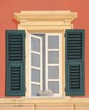 Fenster mit Katze Lizenzfreie Stockfotografie