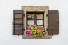 Fenster mit offenen Blumen stockbilder