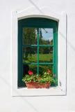Fenster mit Pelargonie Stockbild