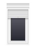 Fenster mit Rollenfensterläden Lizenzfreie Stockbilder