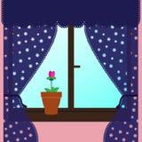 Fenster mit Trennvorhängen Lizenzfreies Stockbild