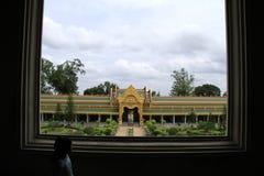 Fenster-Rahmen im buddhistischen Tempel Lizenzfreies Stockfoto