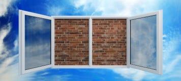 Fenster setzte sich durch eine Maurerarbeit Lizenzfreies Stockbild