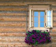 Fenster u. Blumen Stockbild