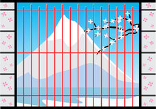 Fenster von Japan-Haus mit Fuji Mountain View, Vektor-Illustration Stockbilder