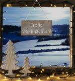 Fenster, Winter-Landschaft, Frohe Weihnachten bedeutet frohe Weihnachten Stockfotografie