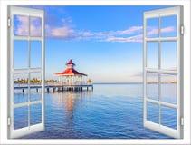 Fensteransicht des Gazebo Stockfotografie