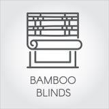 Fensterbambus macht Ikone in der Linie Art blind Konturnlogo für unterschiedlichen Designbedarf Haus- oder Bürodekorkonzept Vekto Stockfotografie