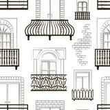Fensterformikonen stellten Balkonmuster ein Lizenzfreies Stockfoto