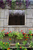 Fensterrahmen und Bambushütte Stockfotografie