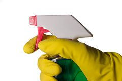 Fensterreinigungsmittel in der Hand lizenzfreie stockfotos