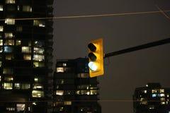 Fensterwolkenkratzer des grünen Lichtes des Verkehrs Nacht Stockfotografie