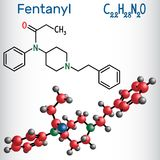 Fentanyl molecule. It is opioid analgesic. Structural chemical f. Ormula and molecule model. Vector illustration Stock Photography