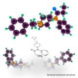 Fentanyl molecule structure. Three dimensional model render Royalty Free Stock Images