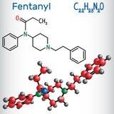Fentanylmolekyl Det är opioidsmärtstillande medlet Strukturell kemikalie f royaltyfri illustrationer