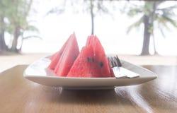 Fente de pastèque Photographie stock