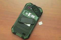 Fente pour de doubles cartes de SIM Plan rapproché de photo Photos stock