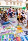 Fente, vente de livres d'école de la Croatie Photographie stock