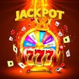 Fentes du casino 777 de gros lot et bannière de roi de fortune Illustration Libre de Droits