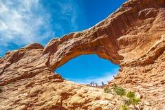 Fenêtre du sud dans les voûtes parc national, Utah Images stock