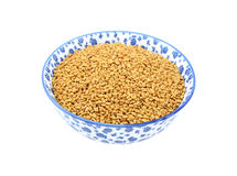 Fenugreek seeds in a china bowl Royalty Free Stock Photo