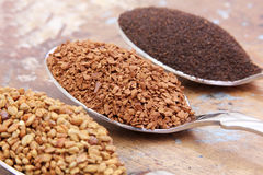 Fenugreek seeds with instant coffee with tea on spoons. Dried fenugreek seeds and instant coffee and tea on spoons on wooden background stock image