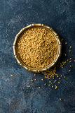 Fenugreek seeds on metal plate, spice, culinary ingredient Royalty Free Stock Images