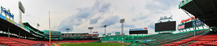 Fenway Park: Home to the Boston Red Sox. A panorama of Fenway Park: Home to the Boston Red Sox team Stock Photos
