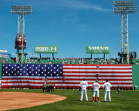 Fenway Park left field wall. Stock Photo