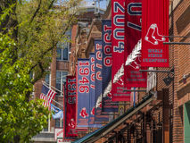 Fenway Park winning pennants. Hanging from the park building on Yawkey way Stock Photography
