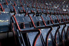 Fenway Stadium Seats. Side angle view of empty vintage stadium seats at Fenway Park stock photography