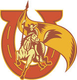 Fer à cheval d'indicateur de HorseWith d'équitation de cowboy de rodéo illustration stock