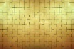 Fer abstrait de mur de briques d'or Image stock