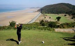 Fer Adarraga an der Golf Pleneuf Val Andre Herausforderung 2013 Stockfotografie