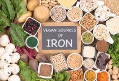 Fer dans le régime de vegan Sources de nourriture de fer de vegan photo libre de droits