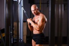 Fer de pompage déchiré fort d'homme chauve Bodybuilder posant avec l'equ photographie stock