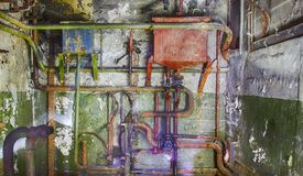Fer rouillé de communication de tuyaux très vieux Image libre de droits