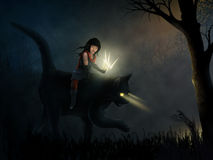 Feral. Surreal painting of a tattooed girl riding a black cat through a dark and moody forest Royalty Free Stock Photo