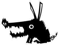 Feral Pig Creature Stencil. Feral pig stylized stencil black, vector illustration, horizontal, isolated Stock Photos