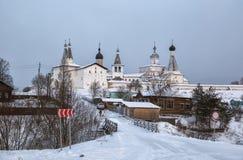 Ferapontov修道院在冬天 免版税图库摄影
