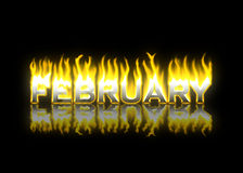 Ferbruary on Fire. February Text on Fire with Reflection Stock Images