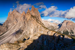 Ferchetta mountain range at sunny summer day day. Dolomites moun Stock Photos
