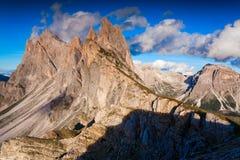 Ferchetta mountain range at sunny summer day day. Dolomites moun Stock Photos