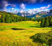 Ferchetta mountain range at sunny summer day day. View from Sell Stock Photo