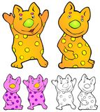 Ferdie. Friendly cartoon creature with variations Stock Photo
